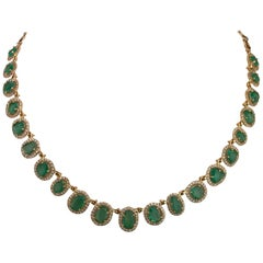 Rose Cut Emerald and Diamond Necklace