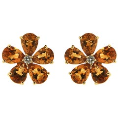 Valentin Magro Pear Shape Cluster Citrine Earrings with Centre Diamond