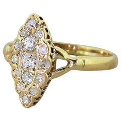 Victorian 0.41 Carat Old Cut and Rose Cut Diamond Navette Ring