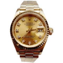 Rolex Ladies Yellow Gold Diamond Datejust Oyster Perpetual Wristwatch, 1991