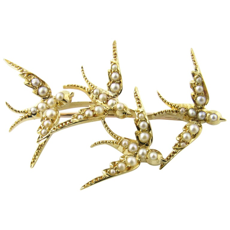 18 Karat Yellow Gold and Seed Pearls Swallows in Flight Brooch