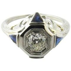 18 Karat White Gold Diamond and Sapphire Engagement Ring