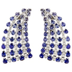 Valentin Magro Sapphire and Diamond Fan Earrings