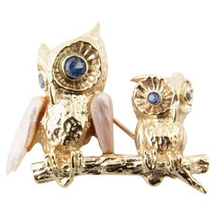 14 Karat Yellow Gold Pearl and Blue Topaz Owl Brooch or Pin