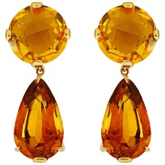 Valentin Magro Citrine Gold Round and Drop Earrings