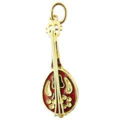 18 Karat Yellow Gold Mandolin Charm