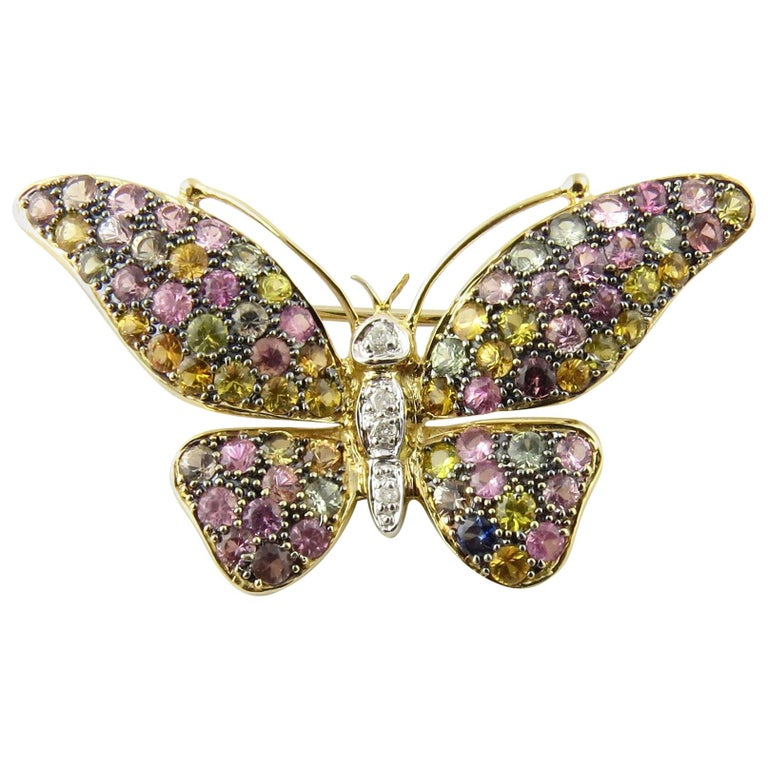 14 Karat Yellow Gold Gemstone Butterfly Pin or Brooch