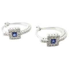 14 Karat White Gold Diamond and Sapphire Earrings