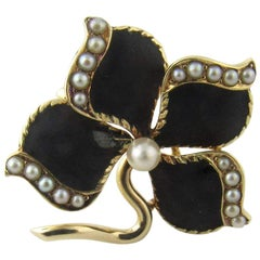 14 Karat Yellow Gold Enamel and Pearl Brooch