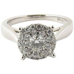 14 Karat White Gold Diamond Circular Cluster Ring