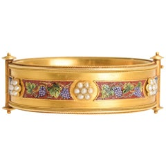 "Antique Victorian Micromosaic ""Grape and Vine"" Gold Bangle"