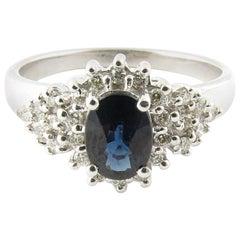 14 Karat White Gold Genuine Sapphire and Diamond Ring