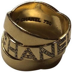 Chanel 18 Carat Gold Band Ring with Diamonds