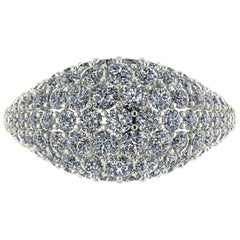 Ferrucci 2.4 Carat White Bright Diamonds Dome Ring in 18 Karat Black Gold