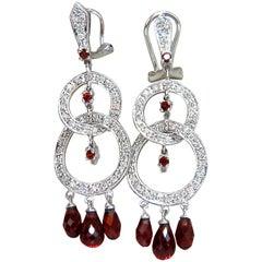 6.70 Carat Natural Garnet Diamonds Dangle Earrings 14 Karat