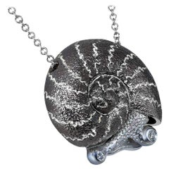 Alex Soldier Diamond Sterling Silver Little Snail Pendant Necklace on Chain