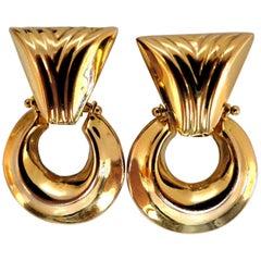 14 Karat Gold Patterned Dangle Earrings