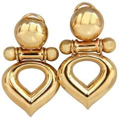 14 Karat Gold High Shine Dangle Earrings Retro