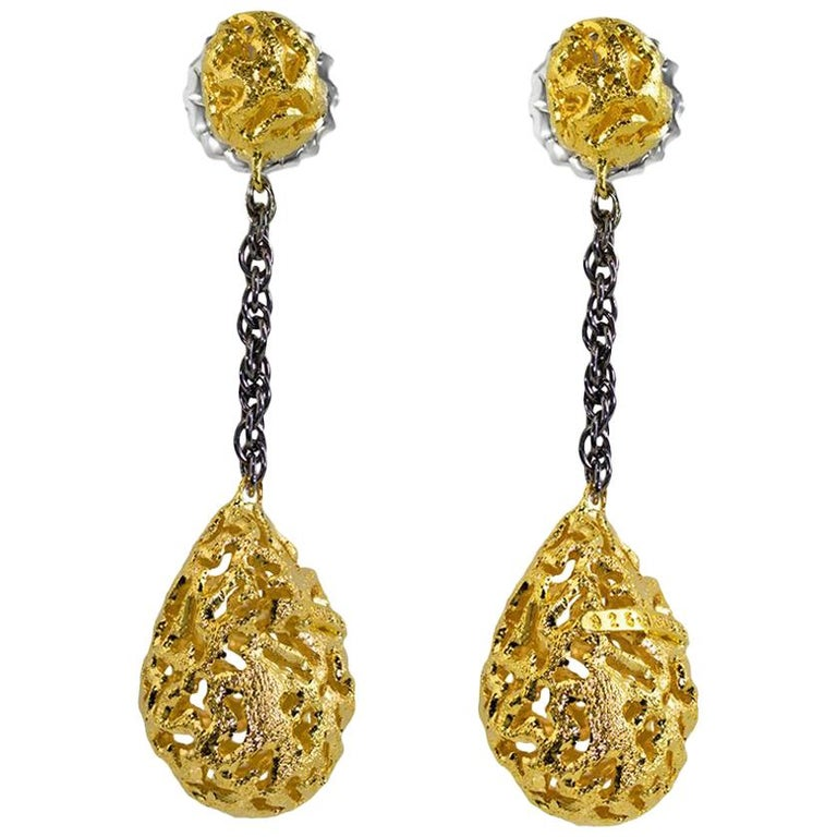 Alex Soldier Sterling Silver Gold Platinum Textured Drop Dangle Earrings