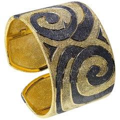 Alex Soldier Sterling Silver Gold Platinum Textured Hinged Cuff Bracelet