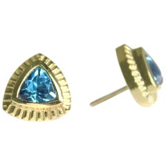 Emily Kuvin Gold and Blue Topaz Trillion Stud Earrings