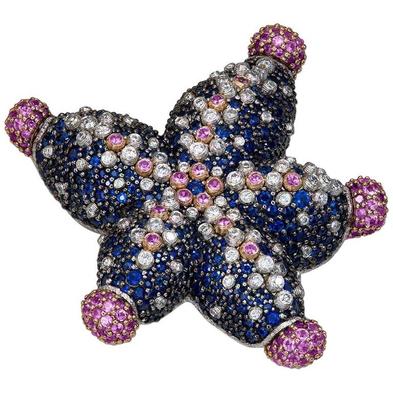 Alex Soldier Sapphire Diamond Gold Starfish Ring Brooch Necklace Bracelet