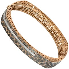 Alex Soldier Diamond Rose Gold Textured Hinged Bracelet One of a Kind