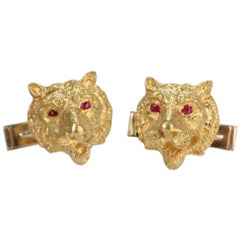 Art Deco 14 Karat Gold and Ruby Figural Tiger Cufflinks