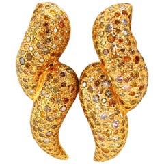 11ct. Natural Fancy Yellow Multicolor Diamond Swirl Dome Clip Earrings 14 karat