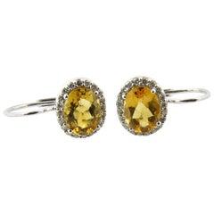 14 Karat White Gold Citrine and Diamond Earrings