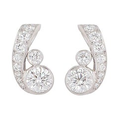 Cartier Platinum Diamond Earrings 1.63 Carat