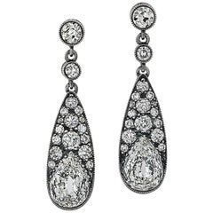 Old Pear Cut Diamond Platinum Drop Earrings