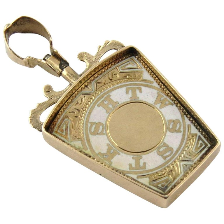 10 Karat Yellow Gold and White Enamel Masonic Royal Arch Keystone FOB