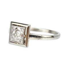French Art Deco Platinum and 18 Karat White Gold Diamond Ring