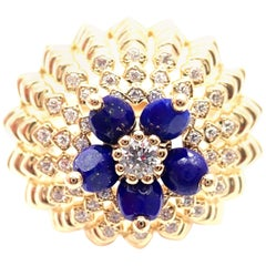 Cartier Cactus De Cartier Diamond Lapis Lazuli Yellow Gold Ring