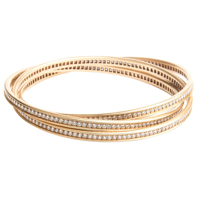 Cartier 18k Yellow Gold and Diamond Trinity Bracelet For Sale