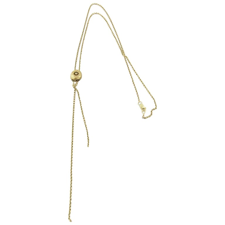 Victorian 14 Karat Yellow Gold Slide Lariat with Pearl Necklace