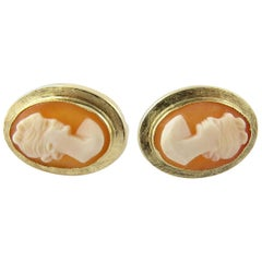 14 Karat Yellow Gold Cameo Florentine Earrings for Pierced Ears