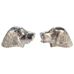 Pair of Holland & Holland Sterling Silver Golden Retriever Hunting Dog Cufflinks
