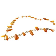 18 Karat Yellow Gold and Amber Necklace