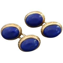Late Victorian Edwardian Lapis Lazuli Gold Double-Cufflinks in Original Case