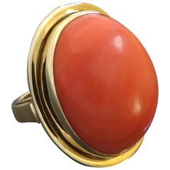 27 Carat Natural Untreated Coral Gold Cocktail Ring