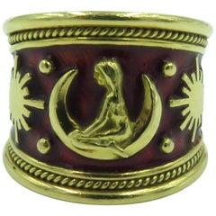 Elizabeth Gage Gold and Red Enamel Virgo Ring