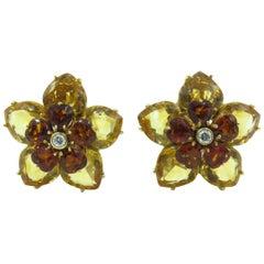 Pair of Citrine and Diamond Earrings