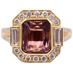 3.34 Carat Pink Tourmaline and White Diamond Statement Ring in 18 Karat Gold