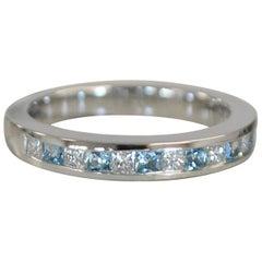 Diamond with Aqua or Other Gemstone Weddinag Band 18 Karat Gold