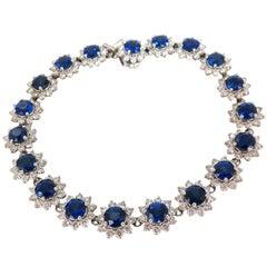 Chow Tai Fook 9.48 Carat Sapphires 4.25 Carat Diamonds Bracelet 18 Karat Vivid
