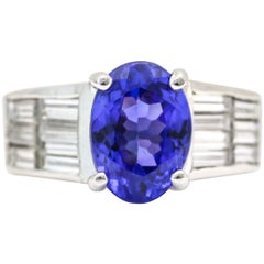 2.60 Carat Tanzanite and Diamond Platinum Cocktail Ring