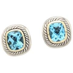 David Yurman 11mm Blue Topaz Albion Earrings 14 Karat Sterling Silver
