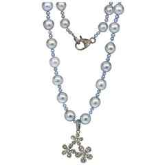 Blue Gray Akoya Pearls with Sterling Silver & Diamond Floral Spray Pendant